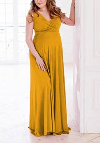 Yellow Draped Flowy V-neck Maternity For Babyshower Elegant Party Maxi Dress