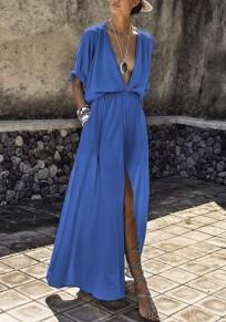Hellblau Taschen Drapiert Tiefer V-Ausschnitt Halblanger Schlitz Party Maxikleid Sommerkleid Strandkleid
