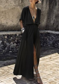 Black Pockets Draped Drawstring Side Slit Deep V-neck Flowy Bohemian Party Maxi Dress