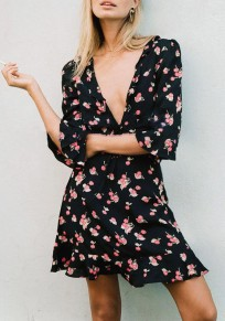 Black Floral Drawstring Cut Out Lace-up Deep V-neck Bohemian Sweet Mini Dress
