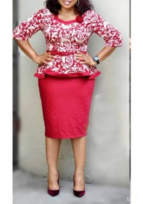 Red Floral Ruffle Peplum Two Piece Plus Size Formal Elegant Party Midi Dress