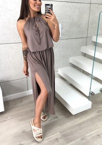 Grey Drawstring Cut Out Sleeveless Fashion Maxi Dress