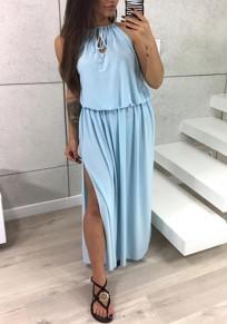 Sky Blue Drawstring Cut Out Side Slit Flowy Bohemian Party Maxi Dress
