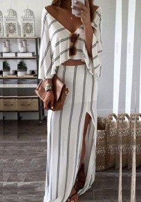 White-Black Striped Draped Side Slit Deep V-neck Two Piece Beachwear Party Maxi Dress