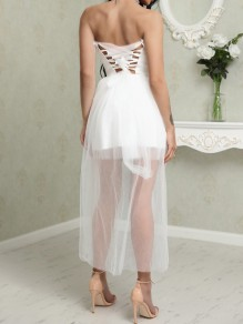White Lace Drawstring Bandeau Grenadine Fashion Maxi Dress