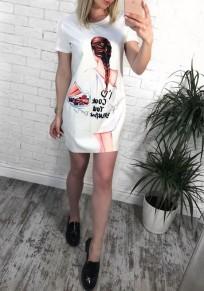 White Cartoon Print Round Neck Fashion Mini Dress
