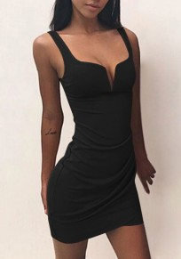 Black Shoulder-Strap V-neck Fashion Mini Dress