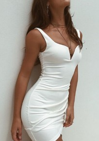 White Shoulder-Strap V-neck Fashion Mini Dress