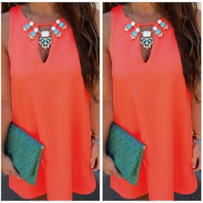 Mini robe découpess col rond doux sortant orange