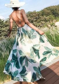 Weiß Blatt Blumen Spaghettiträger Rückenfreies V-Ausschnitt Bohemian Maxikleid Sommerkleid Standkleid
