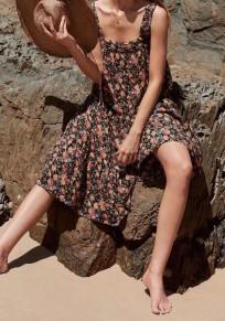Schwarzer Blumendruck drapiert Schultergurt mit eckigem Ausschnitt Chiffon böhmischen Flowy Strand Maxikleid