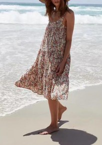 Beige Floral Print Draped Backless Shoulder-Strap Square Neck Chiffon Bohemian Flowy Beach Maxi Dress