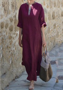 Burgundy Pockets Double Slit V-neck Church Elegance Casual Going out Maxi Dress