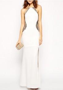 Weißes Flickwerk Pailletten Seitenschlitz Bodycon Bankett Elegante Partei Maxi Kleid