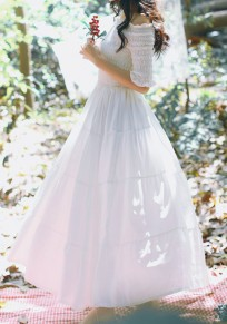 Weiße Plissee Off Shoulder Halblanger Rückenfreies Süße Maxikleid Festliche Kleid Lang