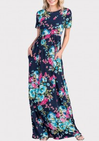 Blue Floral Draped Pockets Cut Out Cross Back Bohemian Party Maxi Dress
