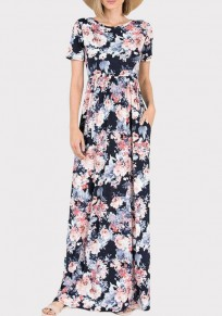 Black Floral Draped Pockets Cut Out Cross Back Bohemian Party Maxi Dress