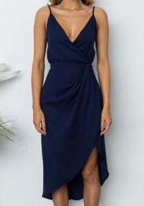 Navy Blue Condole Belt Irregular Sleeveless Knee Length Midi Dress