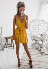 Mini abito maniche A fascia con v-collo giallo
