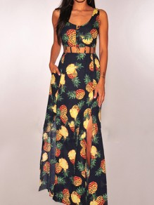 Black Pineapple Print Pockets Cut Out Double Slit Backless Bohemian Party Maxi Dress
