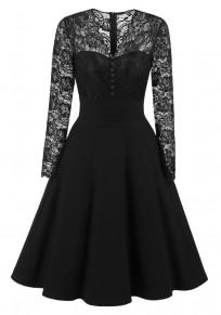 Black Patchwork Lace Buttons Zipper V-neck Long Sleeve Midi Dress