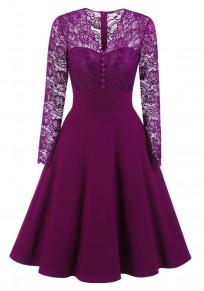 Purple Patchwork Lace Buttons Zipper V-neck Long Sleeve Midi Dress