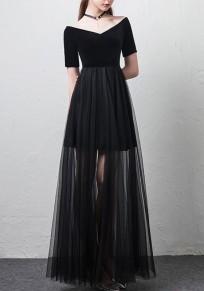 Black Patchwork Grenadine Off Shoulder Short Sleeve Maxi Dress