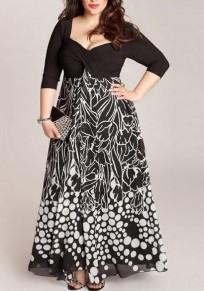 Robe maxi longue imprimé à pois grande taille drapé manches 3/4 élégant noir