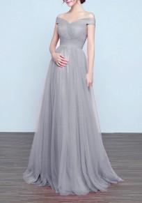 Vestido largo adina plisada hombro para vestidos de boda elegante fiesta gris