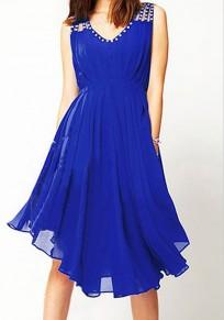 Blue Mosaic Rhinestone Draped V-neck Party Chiffon Midi Dress