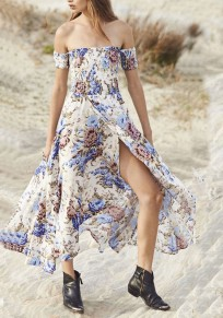 White Floral Draped Slit Irregular Off Shoulder Ruched Flowy Boho Party Maxi Dress