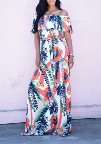 White Floral Sashes Draped Off Shoulder Flowy High Waisted Bohemian Party Maxi Dress