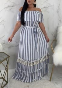 Blue Striped Ruffle Tassel Draped Off Shoulder Bohemian Elegant Party Maxi Dress