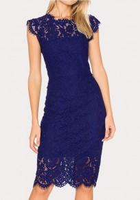 Vestido A media pierna cremallera de encaje floral cuello redondo fiesta elegante azul marino