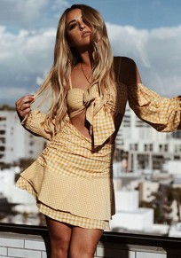 Mini robe bretelle 2-en-1 sans manches longues mode jaune