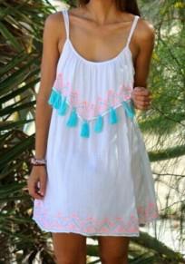 Mini abito spallina con nappe girocollo dolce bianca