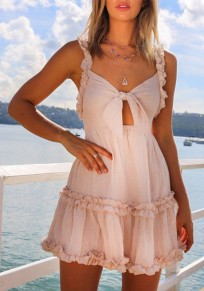 Mini abito farfallino con arricciatura A tracolla con v-collo rosa