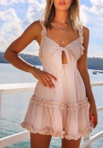 Pink Bow Ruffle Shoulder-Strap V-neck Fashion Mini Dress