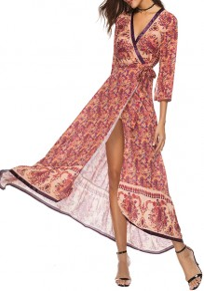 Rose Carmine Floral Sashes Draped V-neck Bohemian Party Maxi Dress