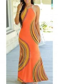 Robe maxi imprimé tribal découpess fente licou épaule épaule plus taille bohème orange