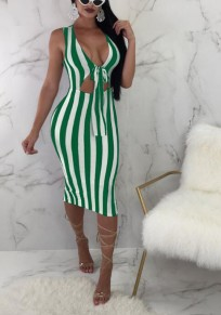 Green White Striped Print Cut Out Bow Slit Shoulder-Strap Bodycon Deep V-neck Sweet Going out Midi Dress