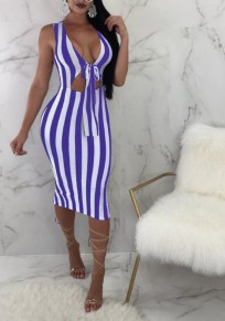 Blue White Striped Print Cut Out Bow Slit Shoulder-Strap Bodycon Deep V-neck Sweet Going out Midi Dress