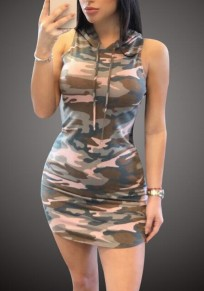 Camouflage Print Camo Hooded Bodycon Hooded Sleeveless Sports Casual Mini Dress