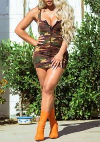 Coffee Camouflage Print Buttons Shoulder-Strap Bodycon Clubwear Party Mini Dress