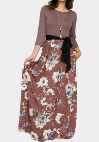 Brown Floral Sashes Pockets Draped 3/4 Sleeve Bohemian Maxi Dress