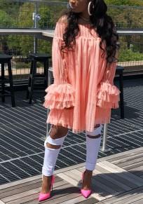 Pink Off Shoulder Ruffle Draped Lace Cute Sweet Party Mini dress