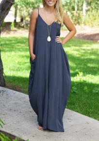 Navy Blue Spaghetti Strap Draped Pockets Backless Deep V-neck Country Party Maxi Dress