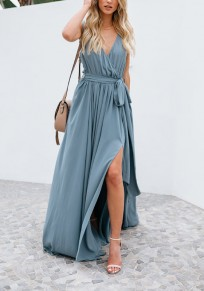 Light Blue Sashes Bowknot Slit Flowy Deep V-neck Bohemian Elegant Party Maxi Dress