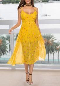 Yellow Floral Draped Slit Spaghetti Strap Backless V-neck Bohemian Party Midi Dress