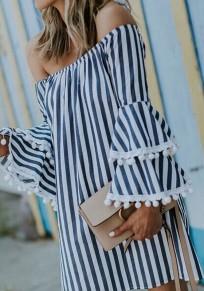 Mini-robe rayures imprimées à sans manches volantées sur l'épaule dos nu noir